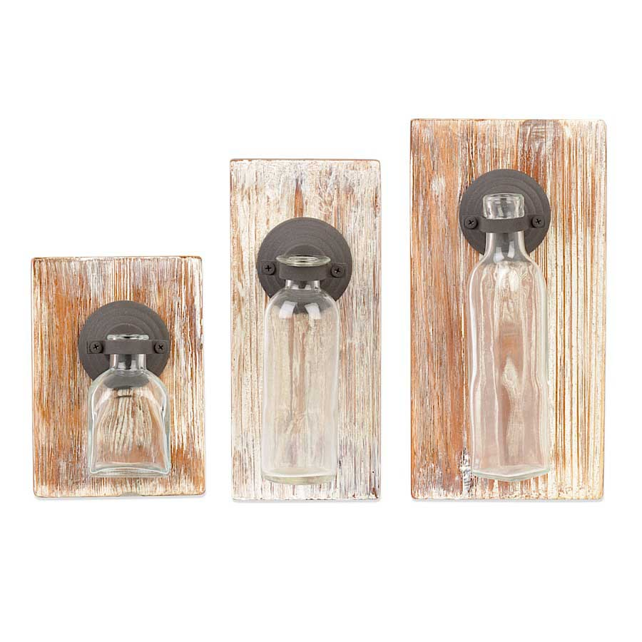 Wood Plaques w/ Glass Bottle Attached - ettobey