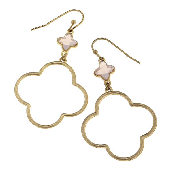 Linked Glass Quatrefoil Earrings