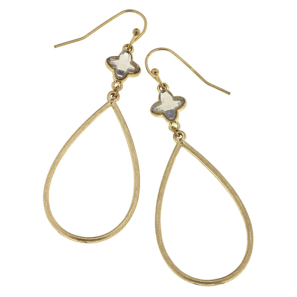 Linked Glass Teardrop Earrings