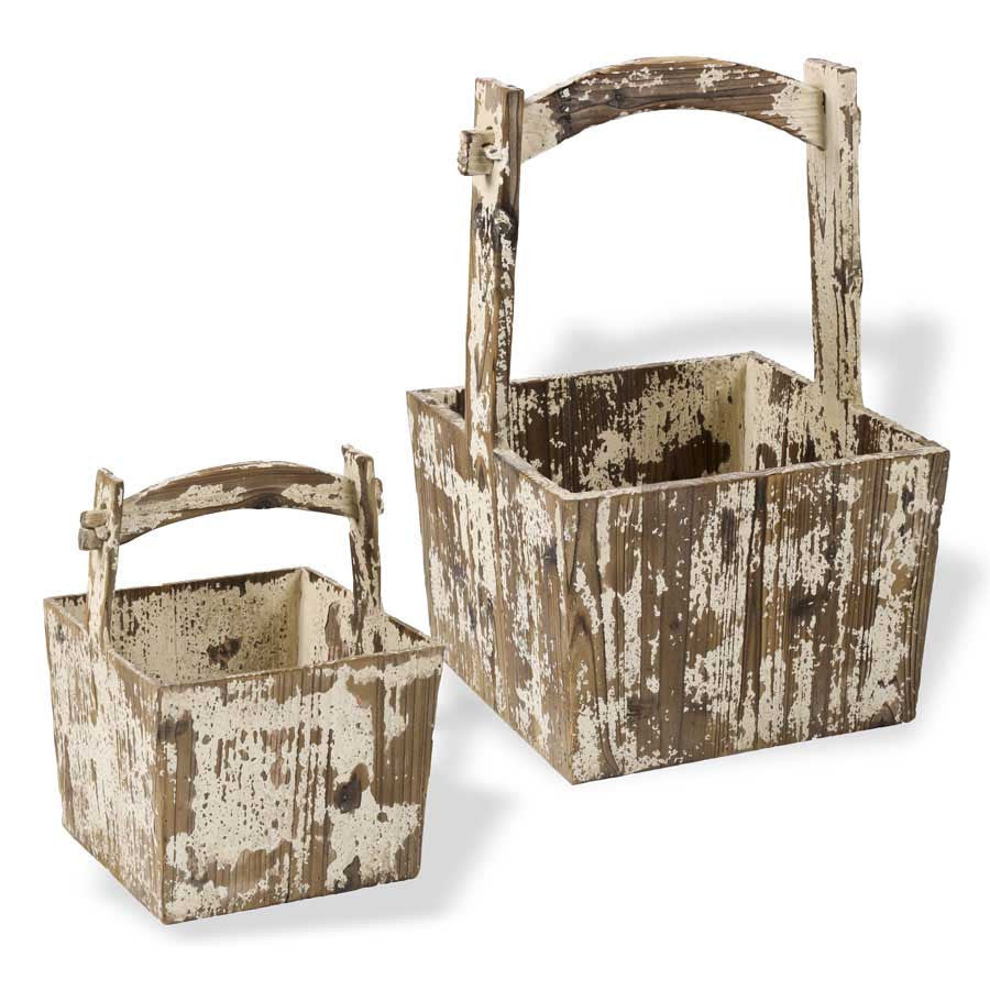 White Distressed Wood Square Boxes w/Wood Handle - E.T. Tobey Company - Baskets