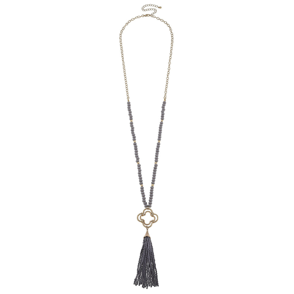 Beaded Quatrefoil Drop Tassel Necklace