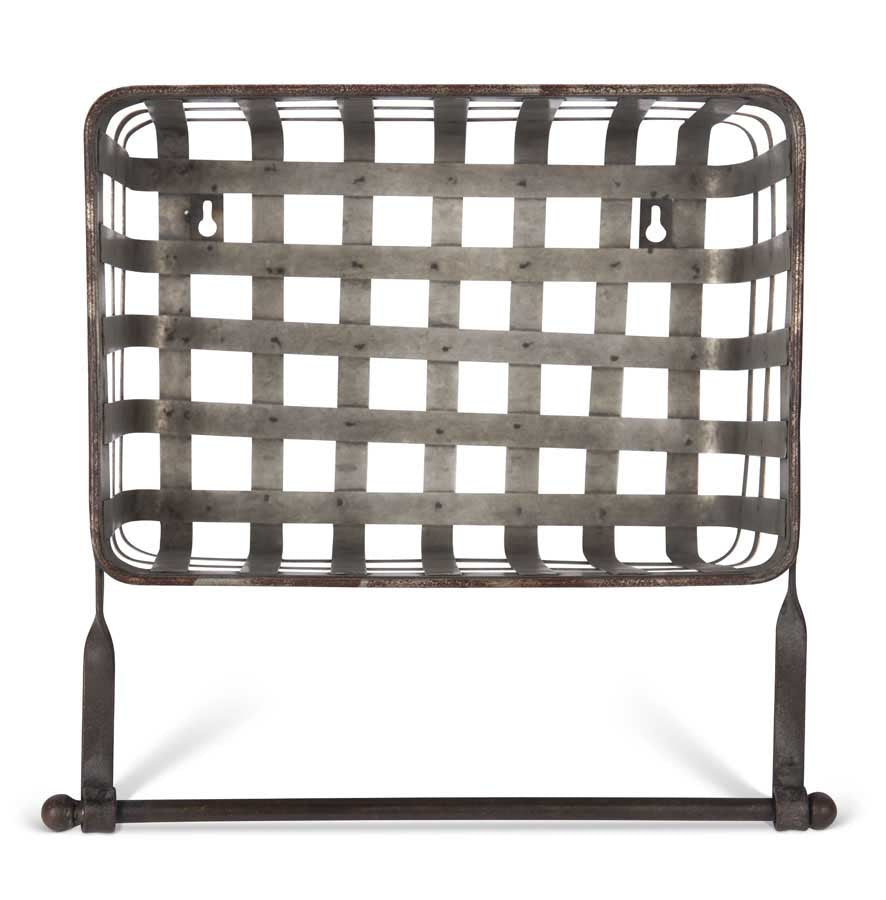 Galvanized Metal Woven Wall Basket w/Towel Bar
