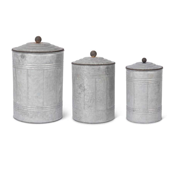 Set of 3 Galvanized Tin Canisters w/Lids - E.T. Tobey Company