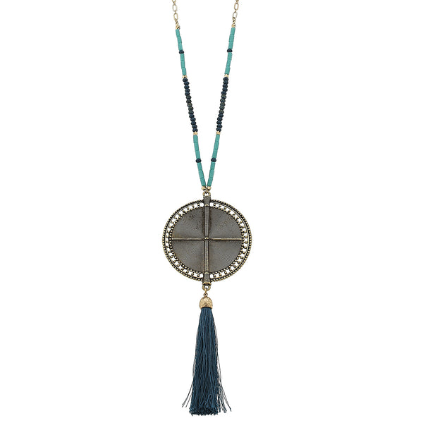 Glass Medallion Tassel Necklace