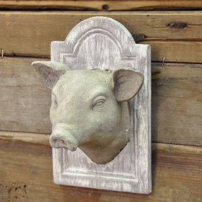 petite hog head plaque - farmhouse style