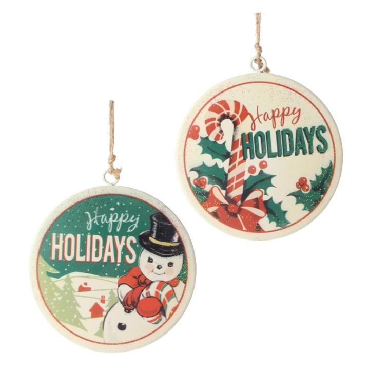 """Happy Holidays"" Disc Ornament"