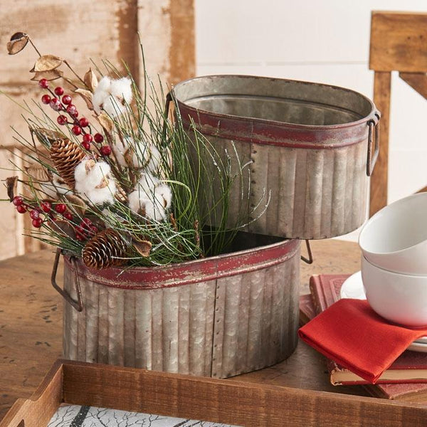 Red Rim Metal Planter