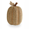 Sea Grass Natural Twine Pumpkin with Burlap Leaf