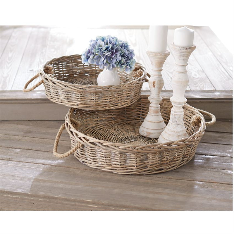 Round Wicker Trays