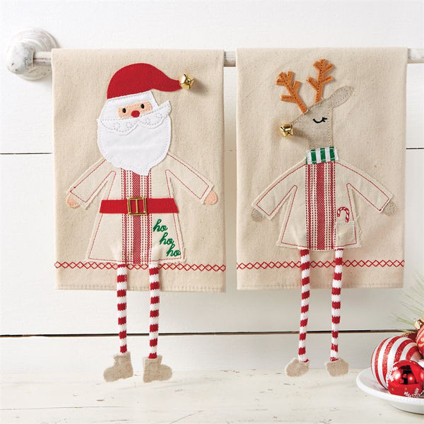 Christmas Dangle Leg Towels - mudpie towels