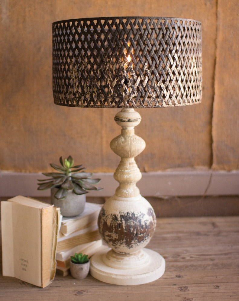 Table Lamp with Round Metal Base & Perforated Metal Shade