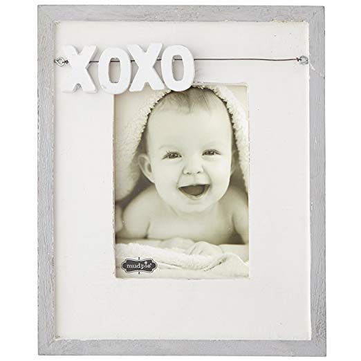 XOXO Distressed White Wood Picture Frame