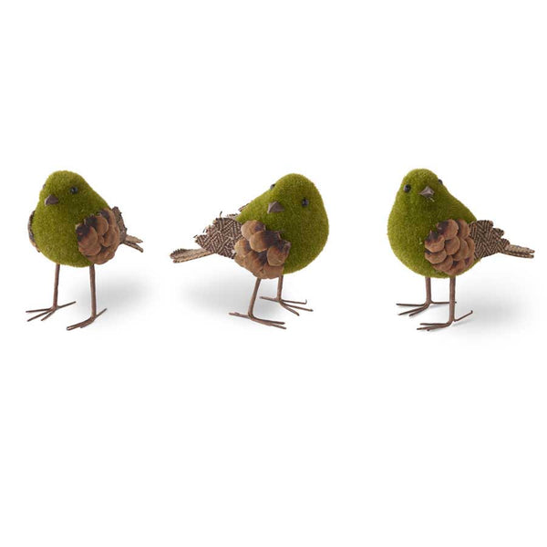 Green Mossy Birds w/Pinecone and Tweed Feathers - farmhouse decor