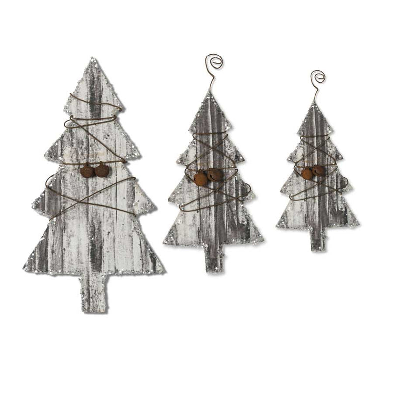 Christmas Tree Ornaments w/Wire and Bells - farmhouse christmas - fixer upper style