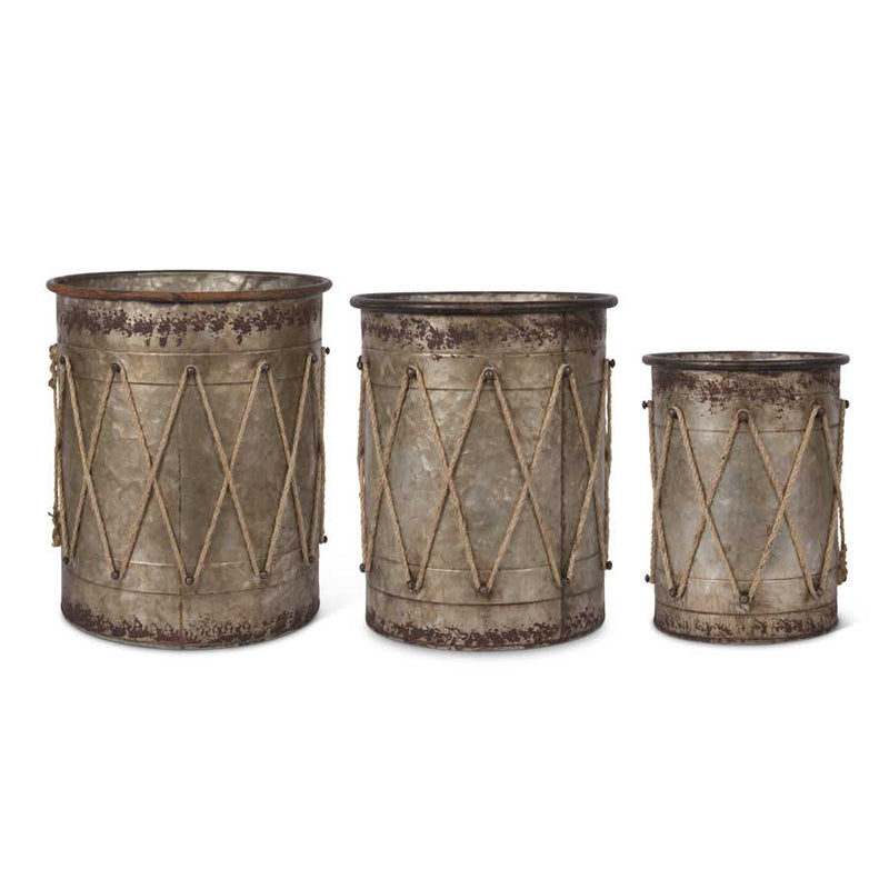 Tin Drum Containers w/Rope Details - E.T. Tobey Co. - Holiday drum decor