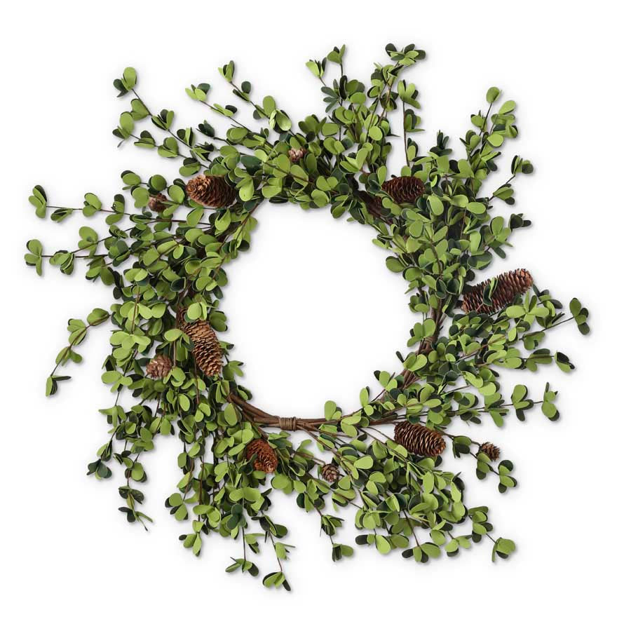 Green Round Leaves and Pinecones Wreath
