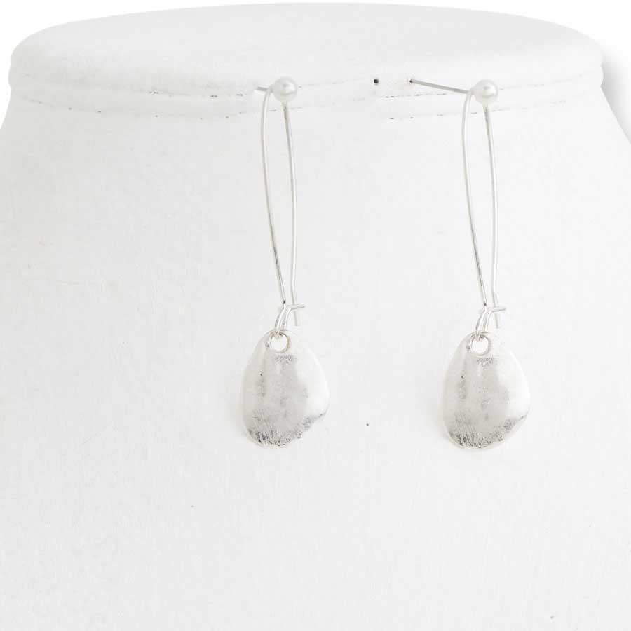 Worn Hammered Silver Teardrop Earrings - e.t. tobey Company