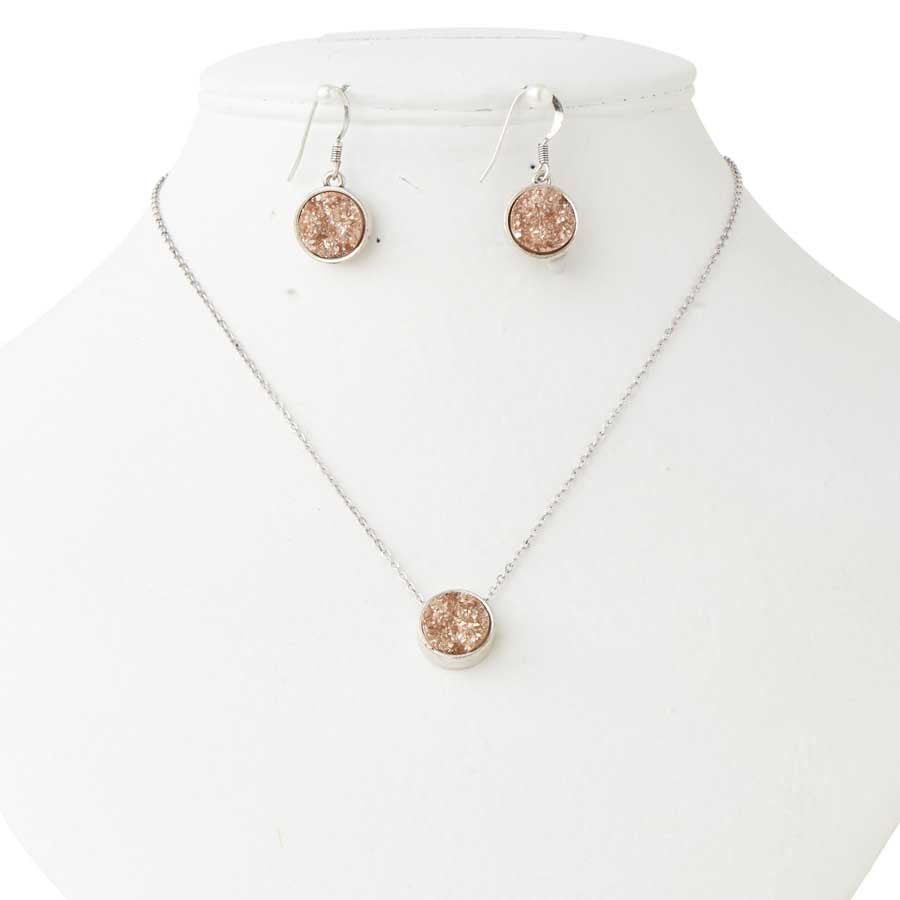 Antique Silver & Copper Druzy Necklace