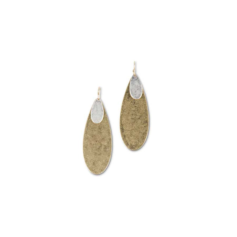 Matte Gold with Silver Oval Earrings