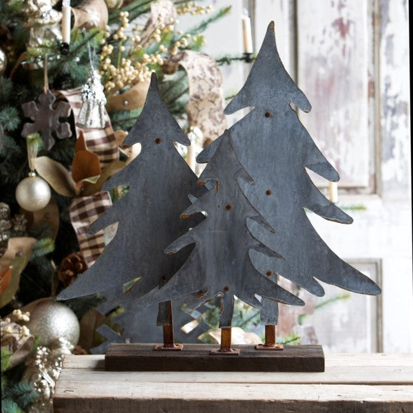 Aged Tin Trees on Wooden Stand - farmhouse holiday decor - fixer upper
