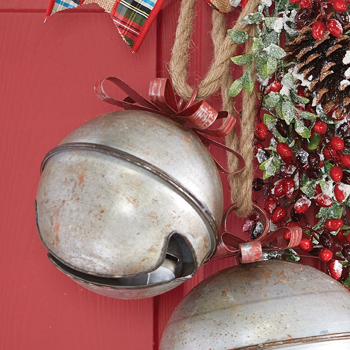 Galvanized Bell with Ribbon