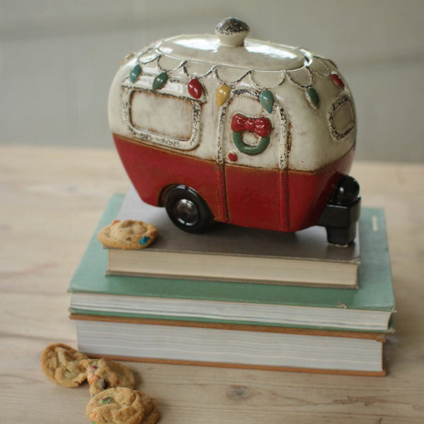 Ceramic Christmas Camper Canister