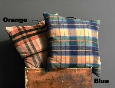 Square Fabric Pillow w/ Plaid Pattern - E.T. Tobey Company