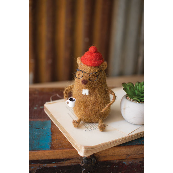 Felt Gopher Drinking Coffee - E.T. Tobey Company