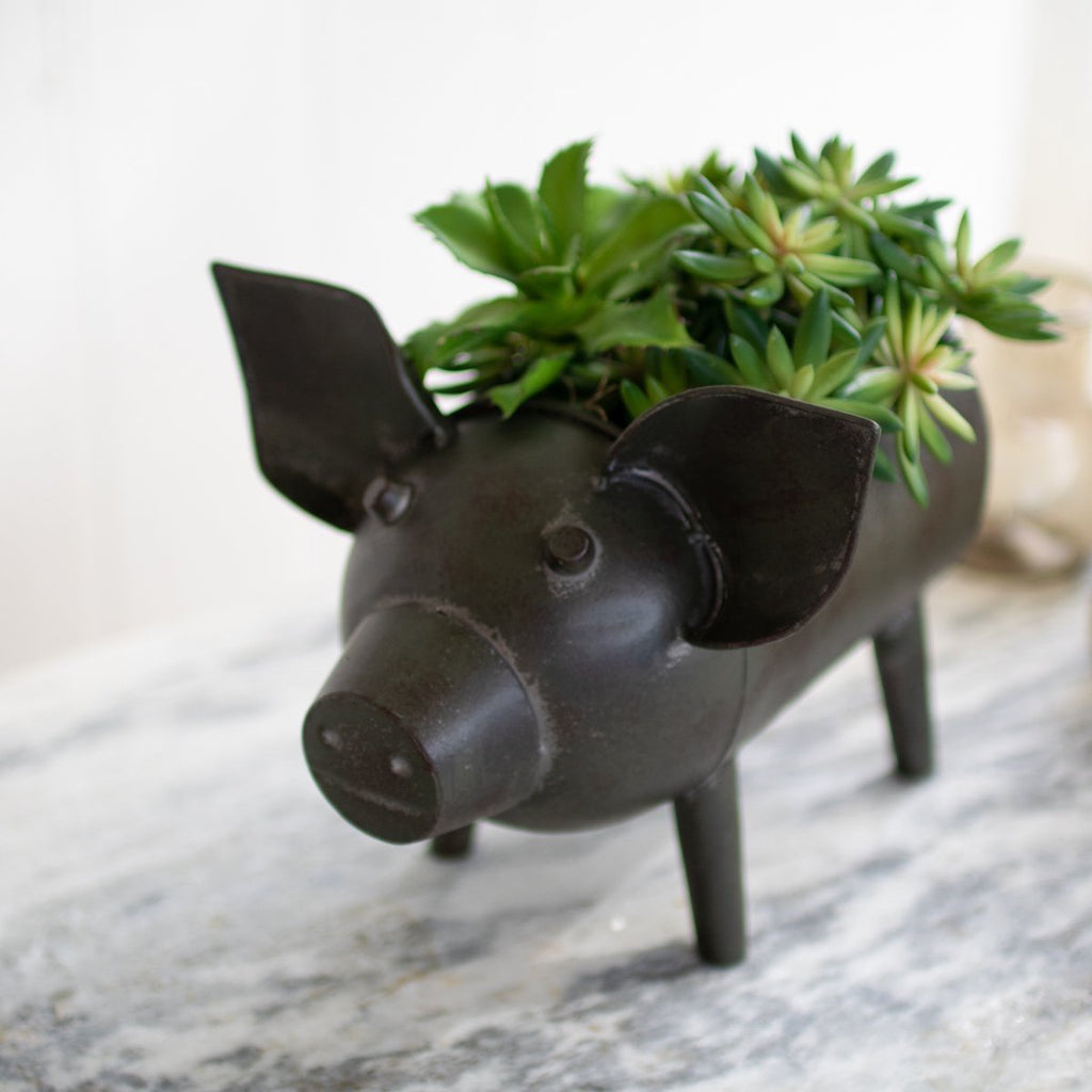 Antique Green Pig Planter