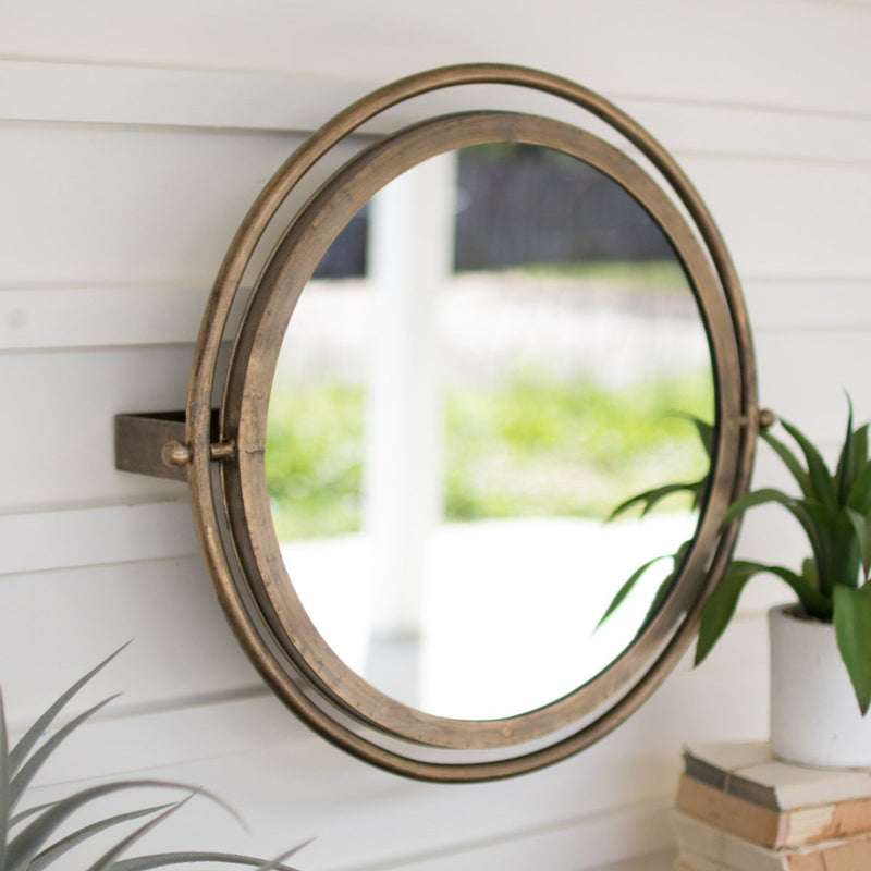 Round Wall Mirror with Adjustable Brackets