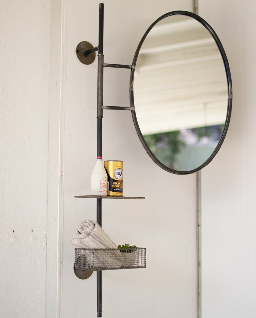 Adjustable Round Mirror with Basket and Shelf