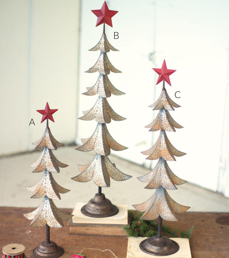 Metal Tree with Red Star