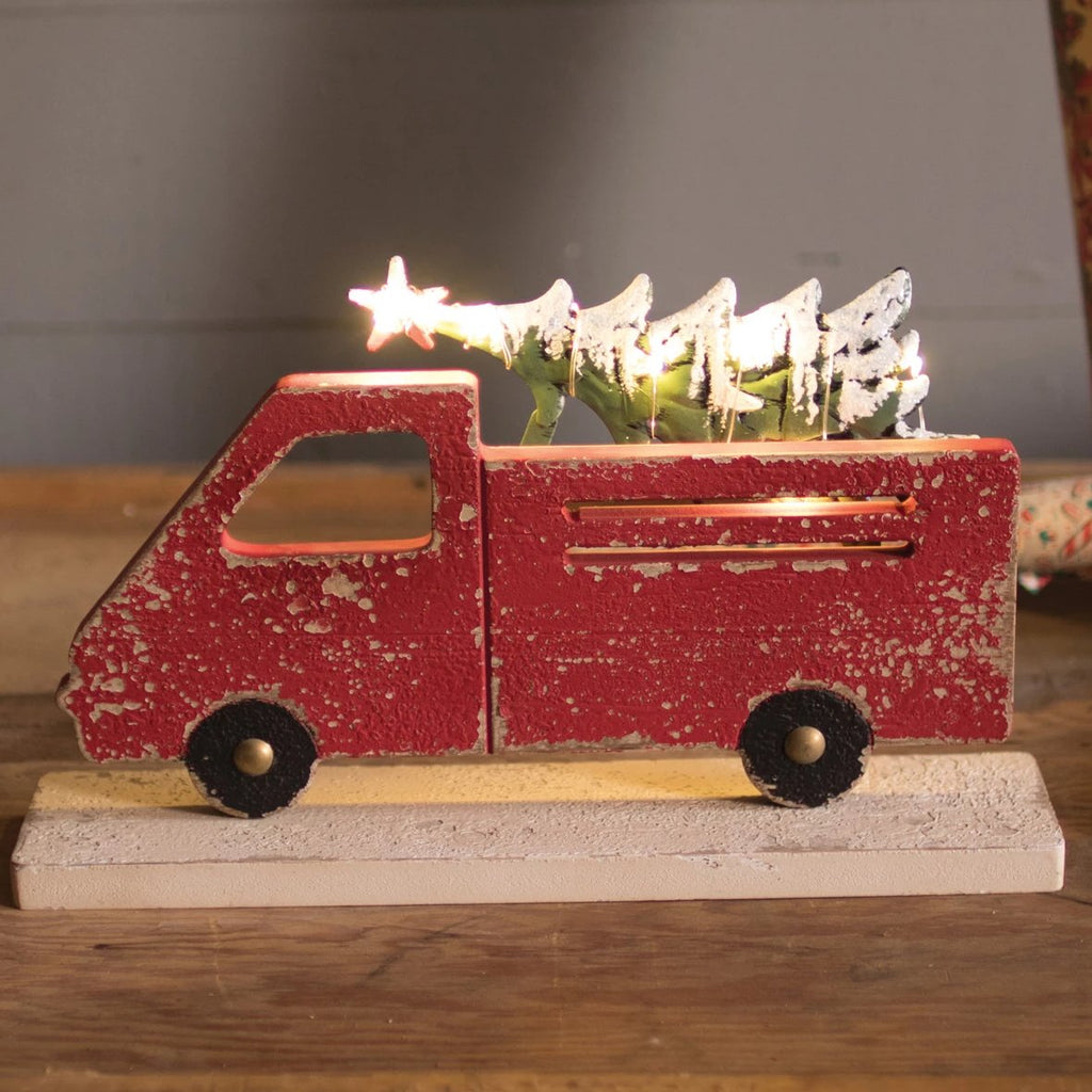 Little Red Truck with Lit Christmas Tree