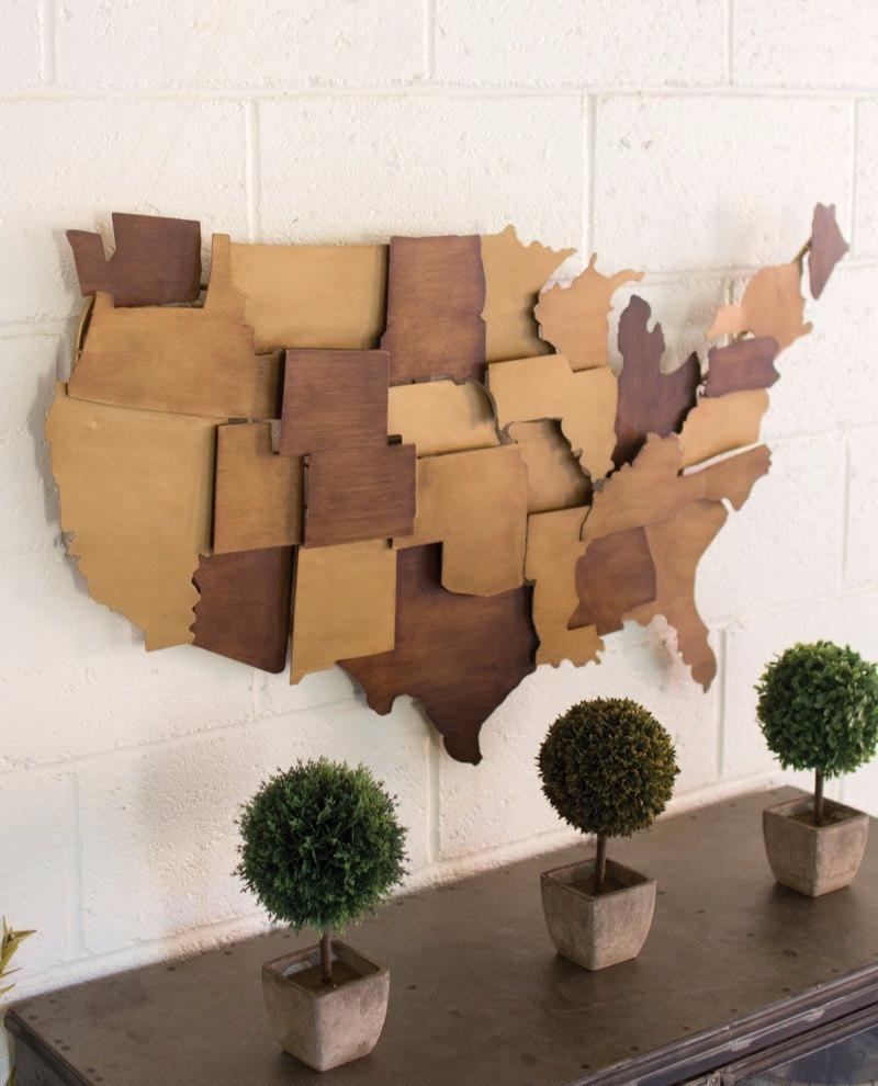 Painted Metal USA wall Sculpture