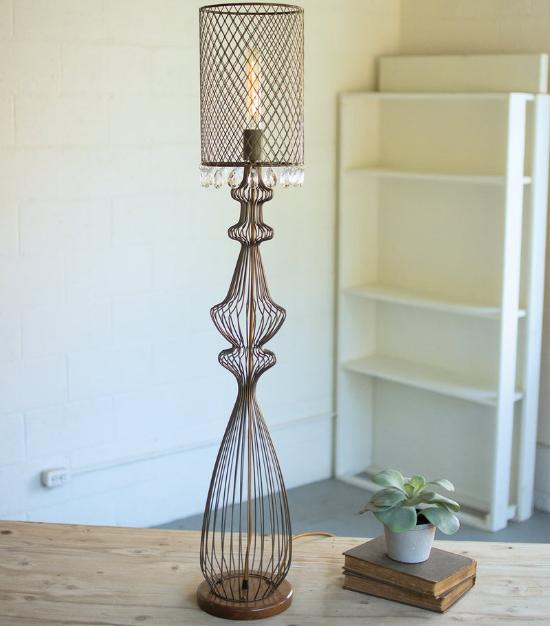Large Wire Table Lamp with Metal Mesh Shade & Hanging Gems