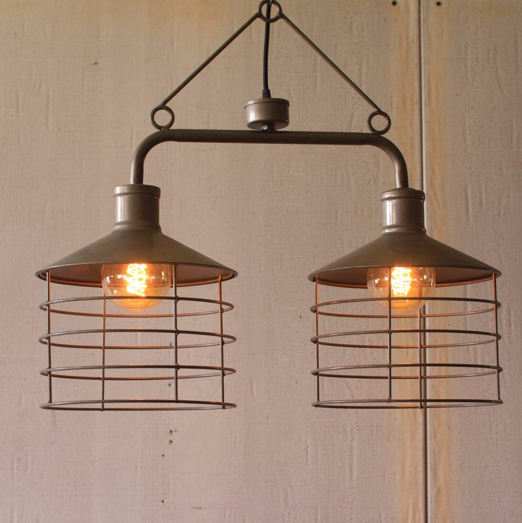 Metal Two Caged Pendant Light
