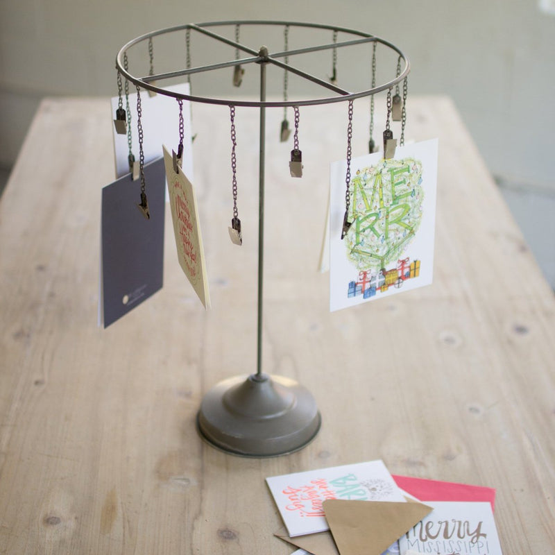 Table-Top Hanging Card Holder w/Clips