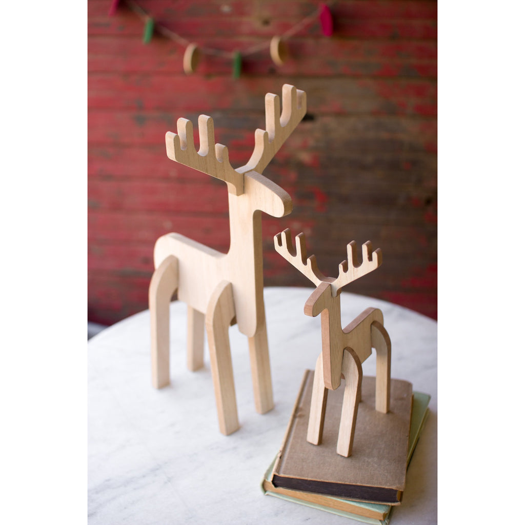 Set Of 2 Wooden Standing Deer - E.T. Tobey Company