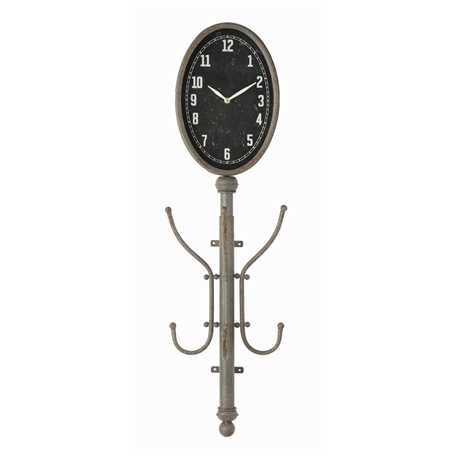 Metal Wall Clock w/ 2 Coat Hooks - E.T. Tobey Company