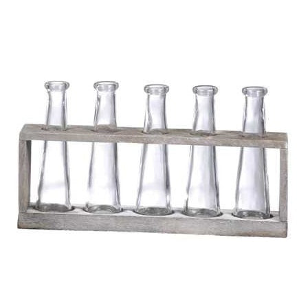 Vase Holder w/ 5 Glass Vases - E.T. Tobey Company