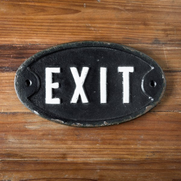 Cast Iron Exit Sign
