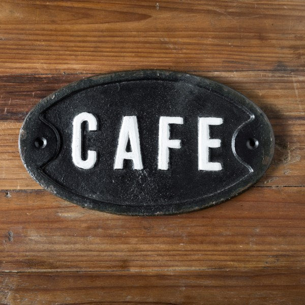 Cast Iron Cafe Sign