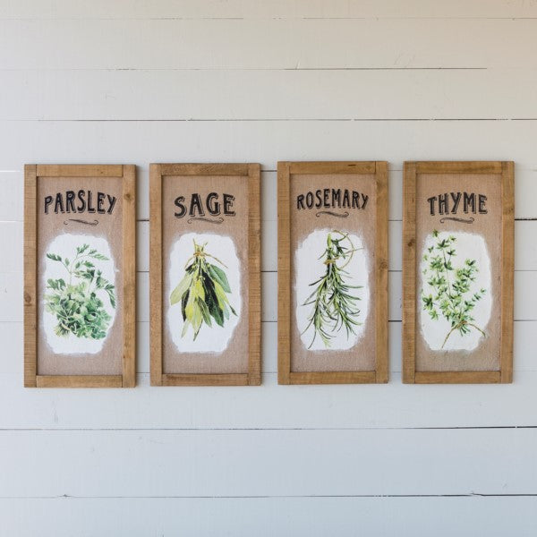 Framed Herb Prints on burlap - park hill collection - e.t. tobey company