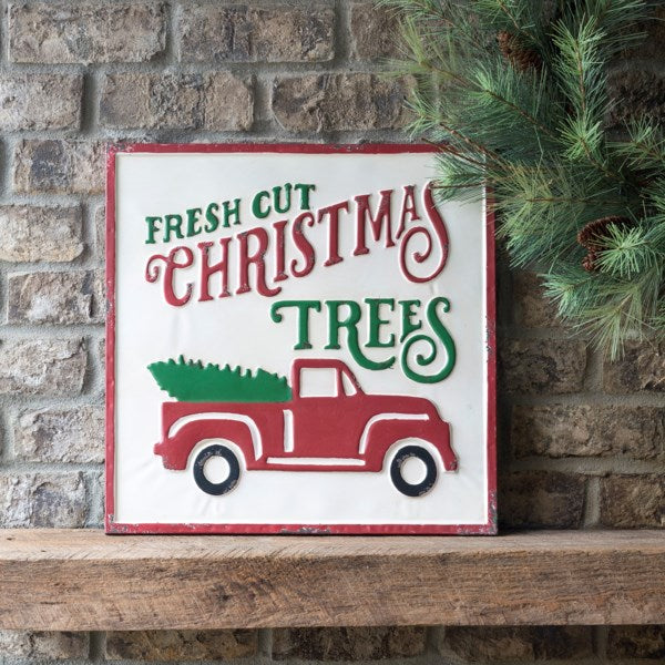 Christmas Trees And Truck Metal Sign