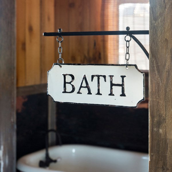 Bath Sign with Hanging Display Bar