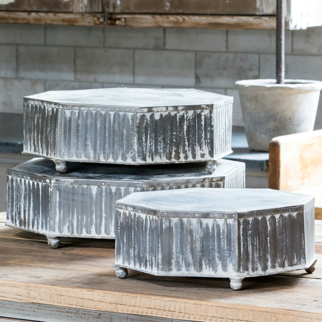 Aged Metal Risers - antique decor