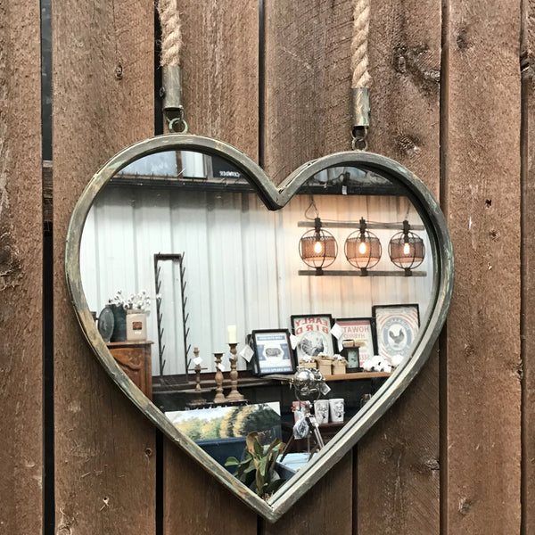 Metal Heart Shaped Mirror with Rope