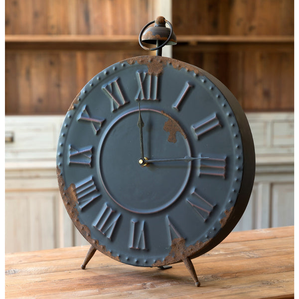 Aged Black Embossed Metal Clock - E.T. Tobey Company