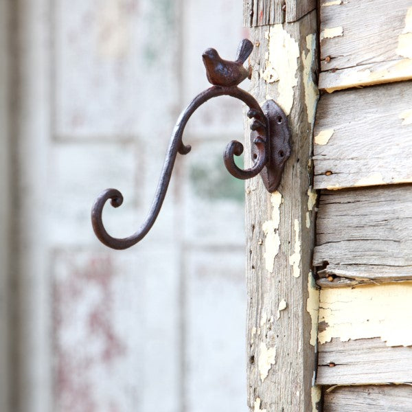 Cast Iron Hook Hanger with Bird Detail
