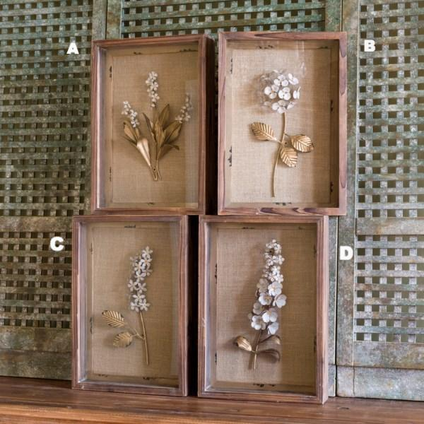 Framed Collection of Metal Flowers